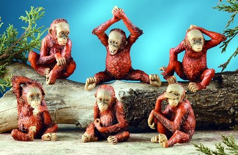 SET OF 6-ORANGUTANS-ENDANGERED-FIGURINES-DISPLAY (6057)