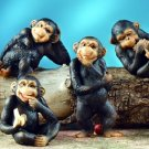 SET OF 6-PLAYFUL CHIMPANZEES-FIGURINES-DISPLAY-FUN (5921)