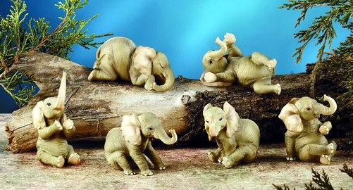 SET OF 6-BABY ELEPHANTS-FIGURINES-DISPLAY-FUN (5902)