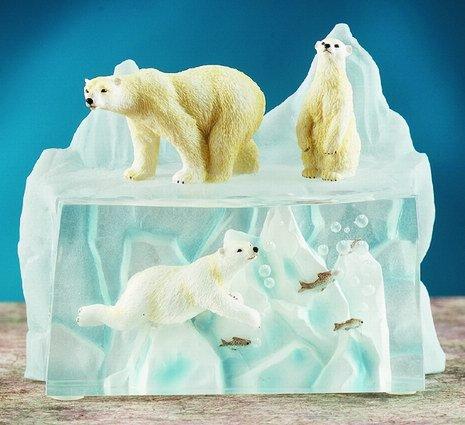 POLAR BEARS ON ICE-FIGURINES-DISPLAY-FUN (5900)