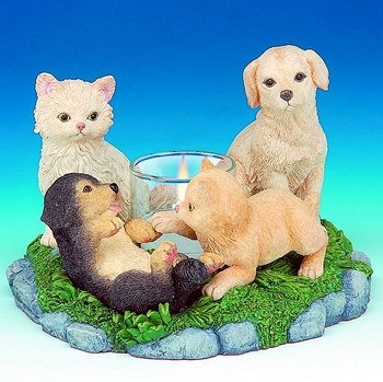 DOGS & CATS HARMONY CANDLEHOLDER-FIGURINES-DISPLAY-FUN (3042)
