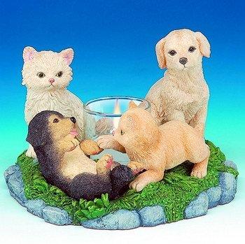 DOGS & CATS HARMONY CANDLEHOLDER-FIGURINES-DISPLAY-FUN (3042)