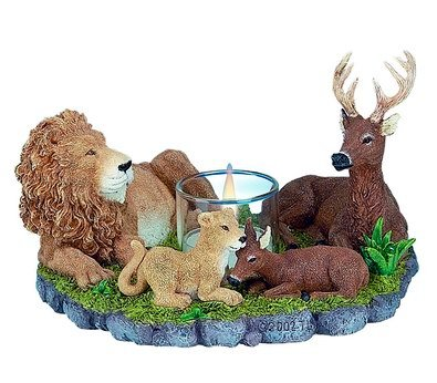 LION & DEER HARMONY CANDLEHOLDER-FIGURINES-DISPLAY-FUN (3044)