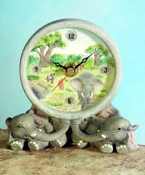 ELEPHANT CLOCK-FIGURINES-DISPLAY-FUN (5347)