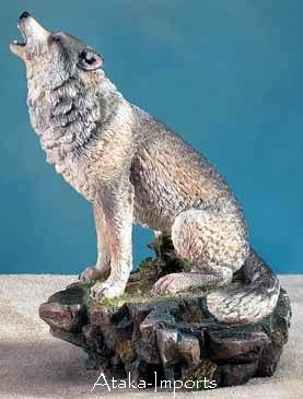 HOWLING WOLF INCENSE BURNER-FIGURINE-DISPLAY-FUN (5756s)