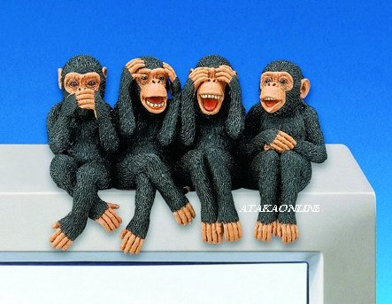 MOKEY-SEE-HEAR-SPEAK NO EVIL-FIGURINES-PC TOPPER-FUN (3050)