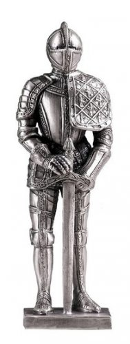 MEDIEVAL SUIT OF ARMOR-PEWTER-FIGURINE (6166)