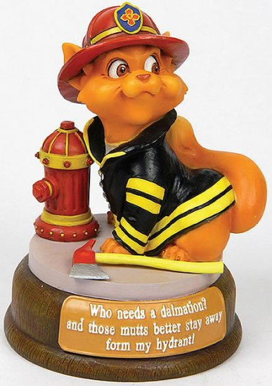 FIREFIGHTER CAT-CUTIE-FIGURINE (6553)