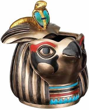 HORUS HEAD BOX W REMOVABLE HEAD LID-FIGURINE-STATUE (6089s)