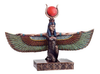 BRONZE ISIS W OPEN WINGS-FIGURINE-STATUE (6186s)