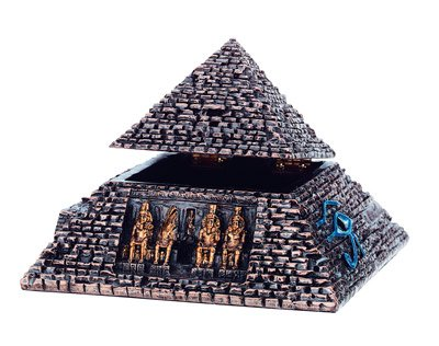 SMALL BRONZE PYRAMID TRINKET BOX-FIGURINE-STATUE (6187s)
