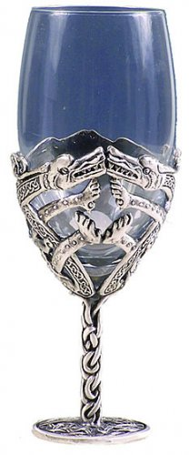 CELTIC DRAGON WINE GLASS-GOBLET (5637)