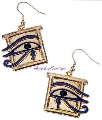 EYE OF HORUS EGYPTIAN EARRINGS and WADJAT BRACELT-Egyptian Fine Jewelry Set (2324-2309)