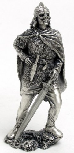 PEWTER VIKING WARRIOR FIGURINE-STATUE (6733)