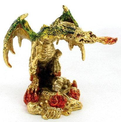 PEWTER DRAGON-FIGURINE-STATUE (6691)
