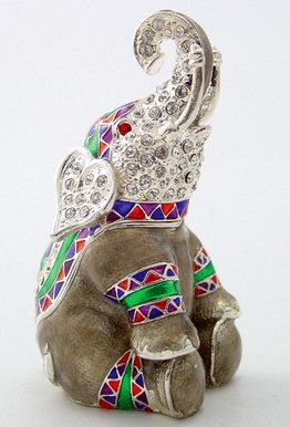 ELEPHANT JEWELRY BOX-FIGURINE-STATUE (3332)