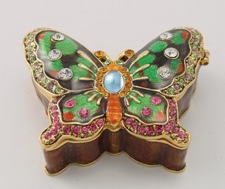 BUTTERFLY JEWELRY BOX-FIGURINE-STATUE (3334)