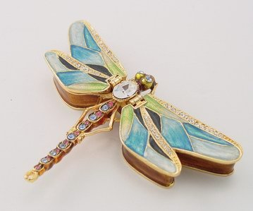 DRAGONFLY JEWELRY BOX-FIGURINE-STATUE (3335)