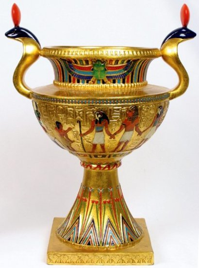 EGYPTIAN COBRA VASE-GOLDEN-FIGURINE-STATUE (6826)
