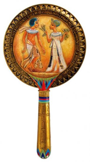 EGYPTIAN HAND MIRROR-VERY DETAILED-FIGURINE-STATUE (6768)