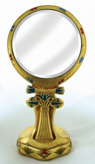 EGYPTIAN TABLE MIRROR-VERY DETAILED-FIGURINE-STATUE (6747)