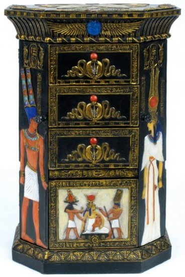 EGYPTIAN JEWELRY BOX W KEY HOLDER-GOLDEN-FIGURINE-STATUE (6748)