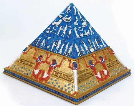 EGYPTIAN PYRAMID BOX-NICE-FIGURINE-STATUE (6772)