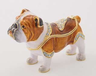 BULLDOG JEWELRY BOX-FIGURINE-STATUE (3331)