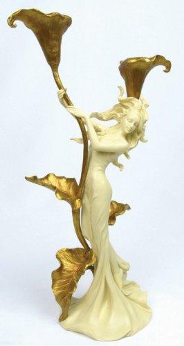 ART NOUVEAU DUAL CANDLEHOLDER-PRETTY LADY #6754