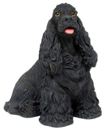 COCKER SPANIEL BLACK COLOR DOG STATUE-FIGURINE (6832)