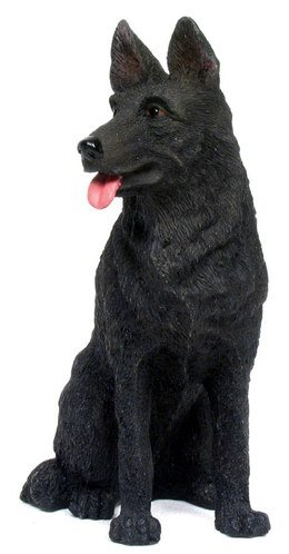 BLACK GERMAN SHEPHERD DOG STATUE-FIGURINE (6828)