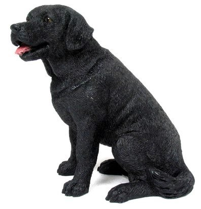 BLACK LABRADOR DOG STATUE-FIGURINE (6830)