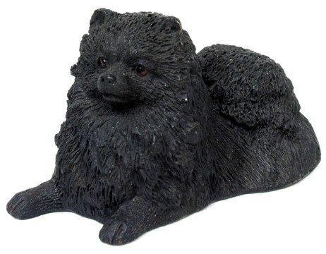 BLACK POMERANIAN DOG STATUE-FIGURINE (6835)