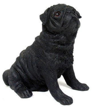 BLACK PUG DOG STATUE-FIGURINE (6836)