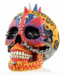 PUNK HEAD SKULL STATUE-FIGURINE (6892)
