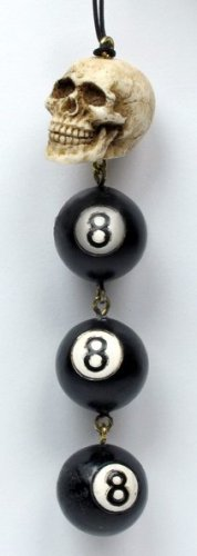 SKULL W NUMBER EIGHT BALL PHONE STRAP STATUE-FIGURINE (6882)
