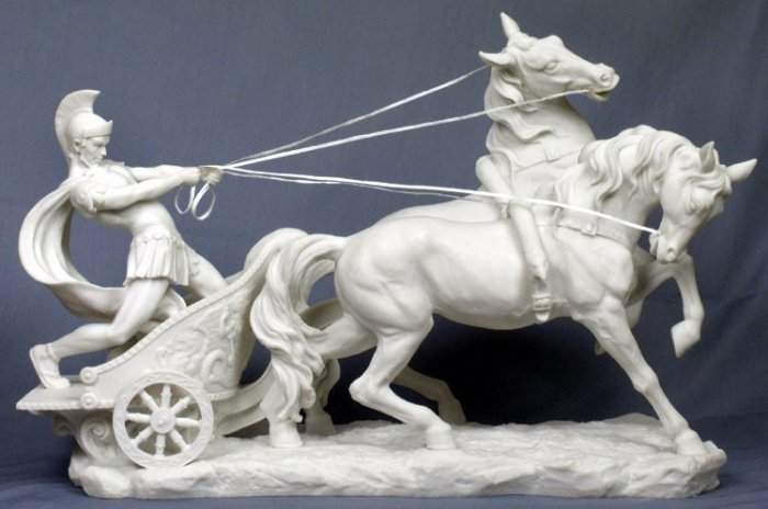 LARGE ROMAN CHARIOT-GREEK MYTHOLOGY-ROMAN FIGURINE (6906)
