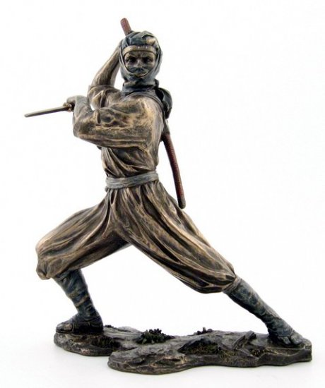 JAPANESE NINJA WARRIOR BRONZE LIKE STATUE-FIGURINE (6879)