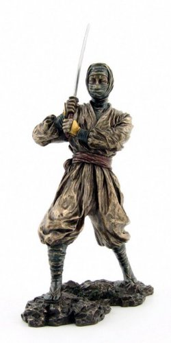 JAPANESE NINJA WARRIOR BRONZE LIKE STATUE-FIGURINE (6878)