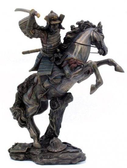 JAPANESE SAMURAI WARRIOR ON HORSE BRONZE LIKE STATUE-FIGURINE (6864)