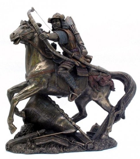 JAPANESE SAMURAI WARRIOR ON HORSE BRONZE LIKE STATUE-FIGURINE (6863)