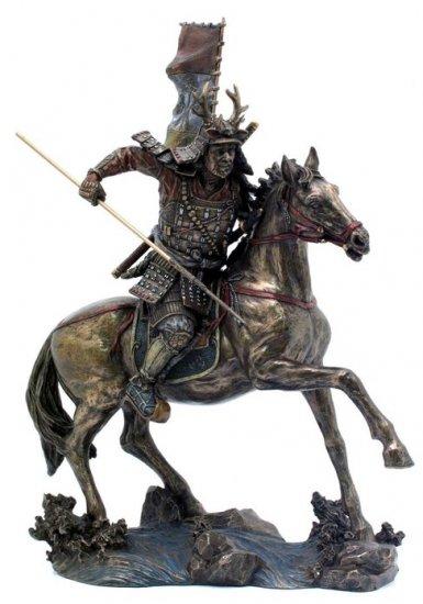 JAPANESE SAMURAI WARRIOR ON HORSE BRONZE LIKE STATUE-FIGURINE (6867)