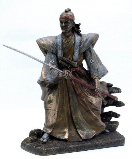 JAPANESE SAMURAI WARRIOR BRONZE LIKE STATUE-FIGURINE (6866)