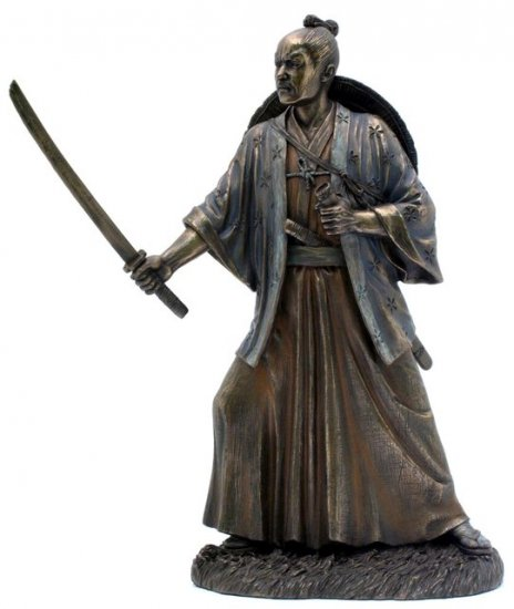 JAPANESE SAMURAI WARRIOR BRONZE LIKE STATUE-FIGURINE (6861)