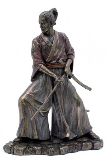 JAPANESE SAMURAI WARRIOR BRONZE LIKE STATUE-FIGURINE (6862)