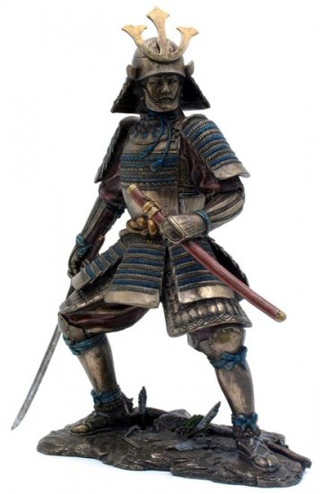 JAPANESE SAMURAI WARRIOR BRONZE LIKE STATUE-FIGURINE (6868)