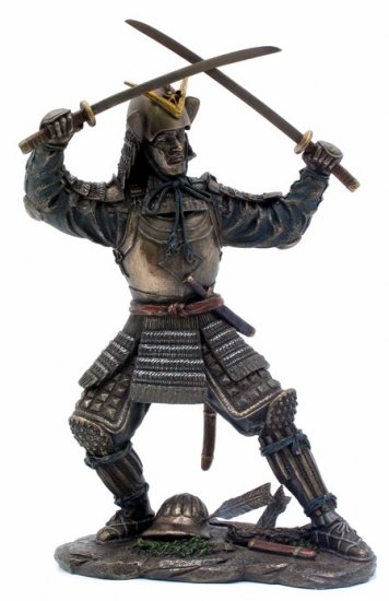 JAPANESE SAMURAI WARRIOR BRONZE LIKE STATUE-FIGURINE (6871)
