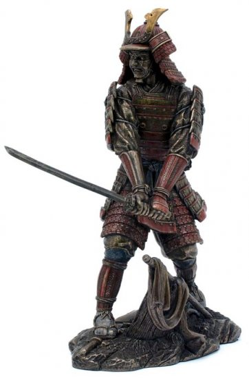 JAPANESE SAMURAI WARRIOR BRONZE LIKE STATUE-FIGURINE (6860)