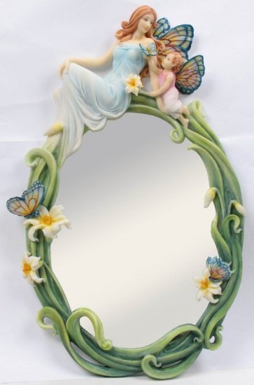 BUTTERFLY FAIRY MOTHER W BABY WALL MIRROR-FIGURINE-STATUE- by Jody Bergsma (7001)