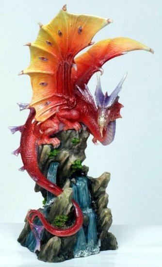 RED DRAGON W WATERFALL OPEN WINGS STATUE-FIGURINE (6849)